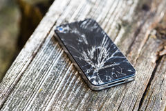 Brutet exponeringsglas av den smarta telefonen Fotografering för Bildbyråer