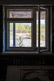 Brutet fönster i övergett hus royaltyfri foto