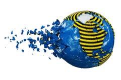 Brutet kraschade planetjordjordklotet som isolerades på vit bakgrund Randigt band för polisvarningssäkerhet 3d framför med översi vektor illustrationer