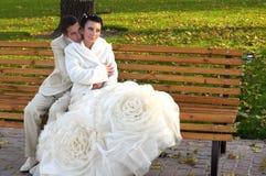 Bräutigam und Braut auf der Bank Stockfotografie