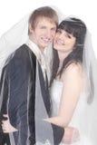 Bräutigam und Braut verstecken sich unter transparentem Schleier Stockfoto