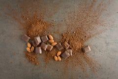 Brutna chokladstycken med den kakaopulver och mandeln på stenlodisar Royaltyfri Fotografi