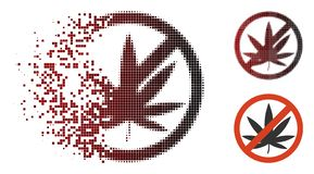 Brutna Dot Halftone Stop Cannabis Icon royaltyfri illustrationer