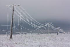 Brutna faselströmlinjer med rimfrost på de träelektriska polerna på bygd i vintern efter storm Arkivfoto