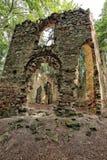 Brutna kyrkliga väggar i skogen Royaltyfri Bild