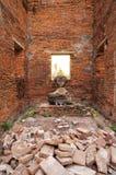 Brutna tegelstenar på gammal byggnad Fotografering för Bildbyråer