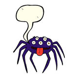 brutto- halloween för tecknad film spindel med anförandebubblan Fotografering för Bildbyråer