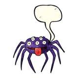 brutto- halloween för tecknad film spindel med anförandebubblan Royaltyfria Bilder