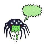 brutto- halloween för tecknad film spindel med anförandebubblan Arkivfoto