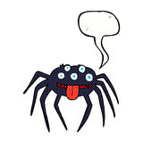 brutto- halloween för tecknad film spindel med anförandebubblan Arkivbild