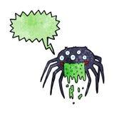 brutto- halloween för tecknad film spindel med anförandebubblan Arkivbilder