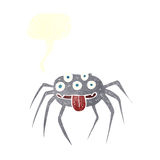 brutto- halloween för tecknad film spindel med anförandebubblan Royaltyfria Foton
