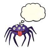 brutto- halloween för tecknad film spindel med tankebubblan Royaltyfri Fotografi