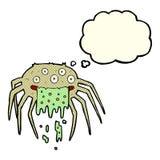 brutto- halloween för tecknad film spindel med tankebubblan Arkivbild