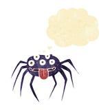 brutto- halloween för tecknad film spindel med tankebubblan Arkivbilder