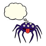 brutto- halloween för tecknad film spindel med tankebubblan Royaltyfri Foto