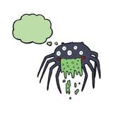 brutto- halloween för tecknad film spindel med tankebubblan Arkivfoton