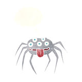 brutto- halloween för tecknad film spindel med tankebubblan Royaltyfri Bild