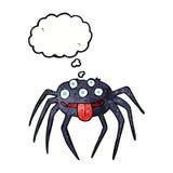 brutto- halloween för tecknad film spindel med tankebubblan Royaltyfria Bilder