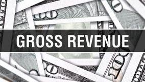 Brutto-Rohertrag-Nahaufnahme-Konzept Amerikanische Dollar des Bargeld-, Wiedergabe 3D Brutto-Rohertrag an der Dollar-Banknote Fin vektor abbildung