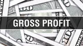 Bruttogewinn-Nahaufnahme-Konzept Amerikanische Dollar des Bargeld-, Wiedergabe 3D Bruttogewinn an der Dollar-Banknote Finanz-USA- lizenzfreie abbildung