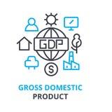 Bruttonationalproduktbegrepp, översiktssymbol, linjärt tecken, tunn linje pictogram, logo, plan illustration, vektor arkivbilder