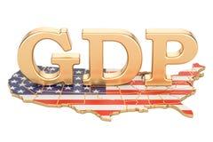 BruttonationalproduktBNP av USA begreppet, tolkning 3D royaltyfri illustrationer