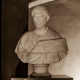 Brutus (85-43 BC). POLAND, POZNAN - 23 DEC 2014: Brutus (85-43 BC) intentional portrait (16th c ?), bust 225-250 marble, captured at Raczynski Museum, sepia tone stock photos