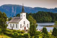 Bruvik Lutheran Kerk, eiland Osteroy Noorwegen Stock Foto