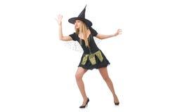 Bruxa bonita no vestido preto isolado no branco Imagens de Stock