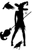 Bruxa com corvos e outros elementos de Halloween Imagem de Stock Royalty Free