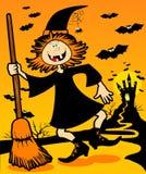 Bruxa com fundo de Halloween Foto de Stock