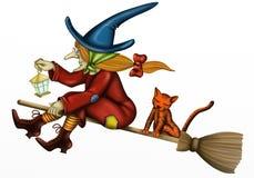 Bruxa com gato Foto de Stock Royalty Free