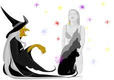 Bruxa com gato preto Fotos de Stock Royalty Free