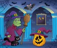 Bruxa com imagem 6 do tema do gato e da vassoura Imagem de Stock