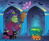 Bruxa com imagem 7 do tema do gato e da vassoura Foto de Stock Royalty Free