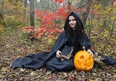 Bruxa com livro mágico 2 Foto de Stock Royalty Free