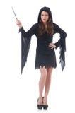 Bruxa com a varinha mágica isolada Imagem de Stock Royalty Free