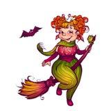 Bruxa de Dia das Bruxas com o bastão que voa para party Vetor Ilustração Royalty Free