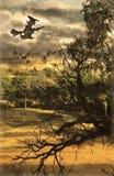 Bruxa de Dia das Bruxas e paisagem assustador Fotografia de Stock Royalty Free