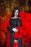 Bruxa de Dia das Bruxas no fumo imagem de stock