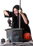 Bruxa de Halloween que fabrica cerveja acima de um encanto Foto de Stock