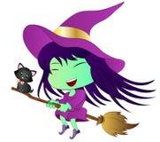 bruxa do Dia das Bruxas dos desenhos animados ilustração royalty free
