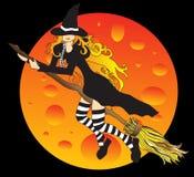 Bruxa do vôo e a lua ilustração do vetor