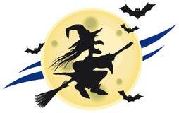 Bruxa do vôo na frente da lua grande Imagem de Stock Royalty Free