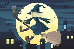 Bruxa do vôo de Halloween Imagens de Stock Royalty Free
