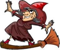 Bruxa dos desenhos animados, vetor feliz de Halloween Imagens de Stock Royalty Free
