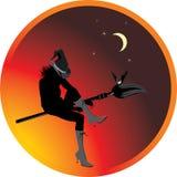 Bruxa e bastão de Halloween. Etiqueta Fotos de Stock