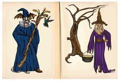 Bruxa e feiticeiro - entregue desenhos, vetor Foto de Stock