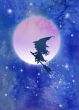 Bruxa e lua Imagens de Stock
